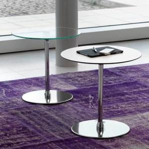 Art.TV12 - Tavolino d'attesa con piano in vetro  tondo e struttura cromata (VAGHI)