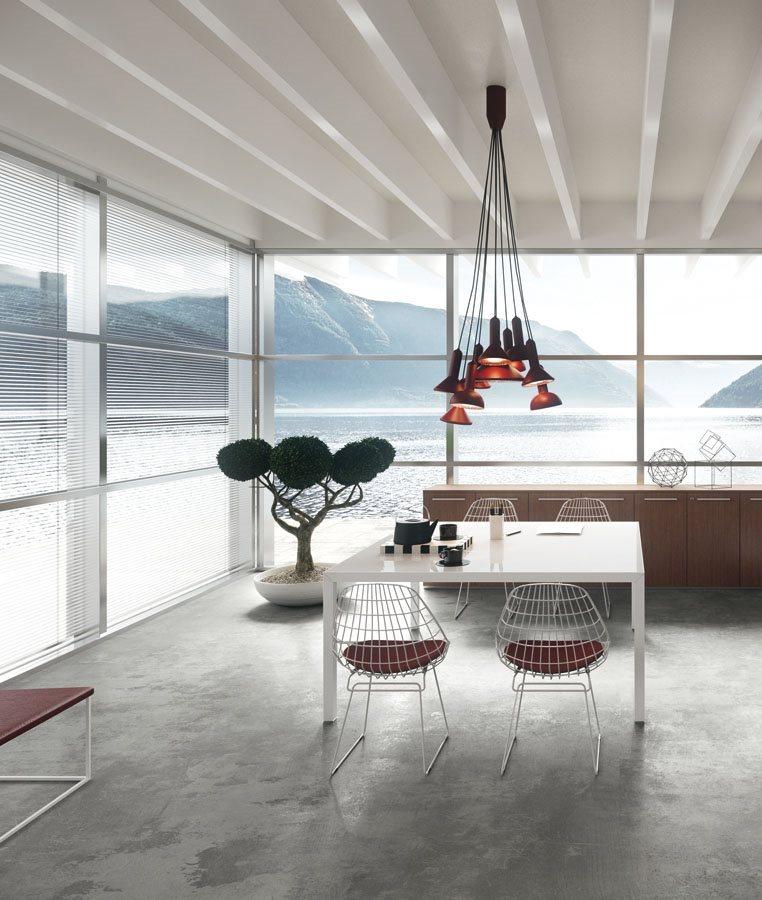 Art. TAR04 - Tavolo riunioni con piano retrolaccato in bianco, disponibile in diverse finiture e dimensioni (DVO)