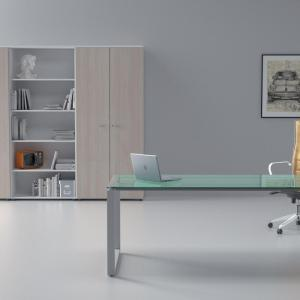 Art.SD15 - Scrivania con piano in vetro e gamba ad anello. (OFFICE&CO)