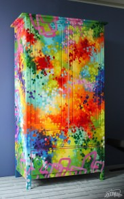 ARMOIRE/CUPBOARD/CABINET/BUFFET Graffiti-Painting-Artwork on Furniture by artist DUDEMAN commissioned by by Malcolm Patterson for Chatelaine Magazine (March 2012 issue) - Copyright©: Dudeman (Nicholas Sinclair), Chatelaine Magazine, Malcolm Patterson