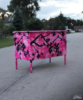 CHEST OF DRAWERS-DRESSER-COMMODE Graffiti-Painting-Artwork on Furniture by artist DUDEMAN (2012) - Copyright©: Dudeman (Nicholas Sinclair)