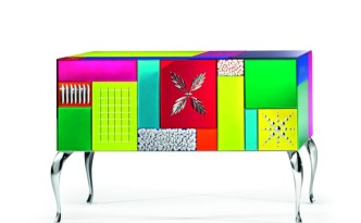 GOOD MOOD 7000 Multicolor 3-Door Sideboard-Credenza-Buffet by Leonardo de Carlo ('Riflessivo' Series, 2010) from ARTE VENEZIANA (Copyright: © Leonardo de Carlo, ARTE VENEZIANA)