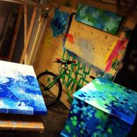 NIGHTSTAND-BEDSIDE TABLE Graffiti-Painting-Artwork on Furniture by artist DUDEMAN (2013) - Copyright©: Dudeman (Nicholas Sinclair)