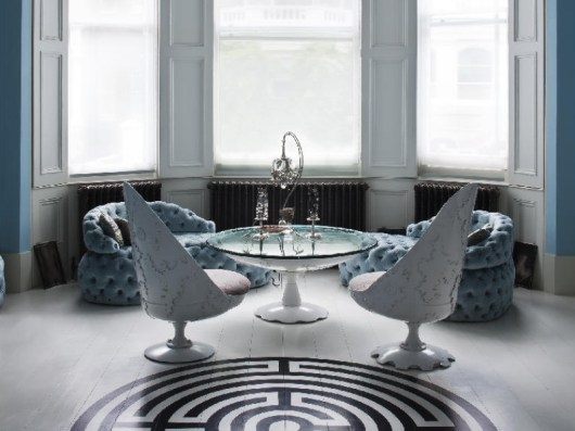 White Armchairs & Coffee Table by Jean-Francois Buisson (photo by Rei Moon-MOON RAY STUDIO)