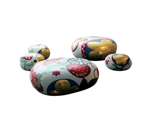 ALICE, BEATRICE, CECILIA, DAPHNE & ELENA Poufs-Stools-Ottomans-Coffee Tables-Side Tables by Marcel Wanders (2004-2012) from BISAZZA (courtesy of BISAZZA - copyright: ©Marcel Wanders, BISAZZA)