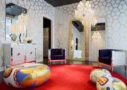 ALICE, BEATRICE, CECILIA, DAPHNE & ELENA Poufs-Stools-Ottomans-Coffee Tables-Side Tables by Marcel Wanders (2004-2012) from BISAZZA at the BISAZZA Chicago Flagship Store (photo by Doug Fogelston - courtesy of BISAZZA & BISAZZA FOUNDATION - copyright: ©Marcel Wanders, BISAZZA, BISAZZA FOUNDATION, Doug Fogelston)