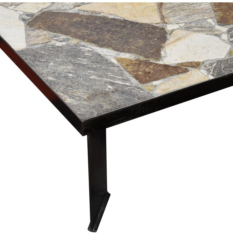 large square vintage coffee table in slate stone 1970s