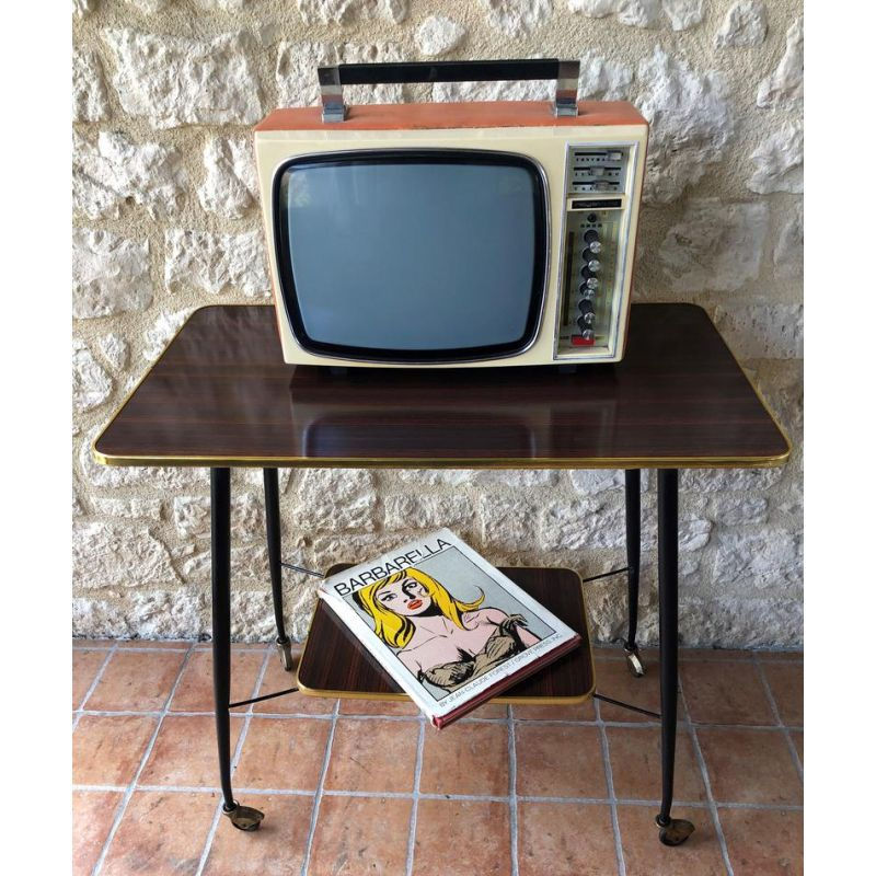 mid century formica brass and metal side table tv stand on wheels 1960