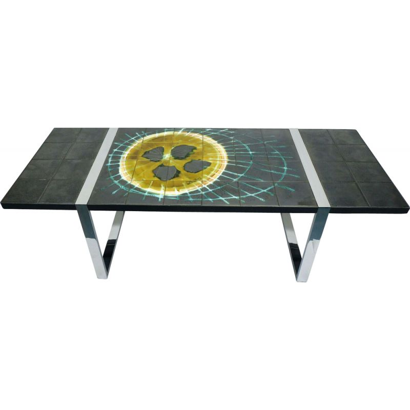 vintage cooffee table with ceramic tile top and chrome base belarti 1960s