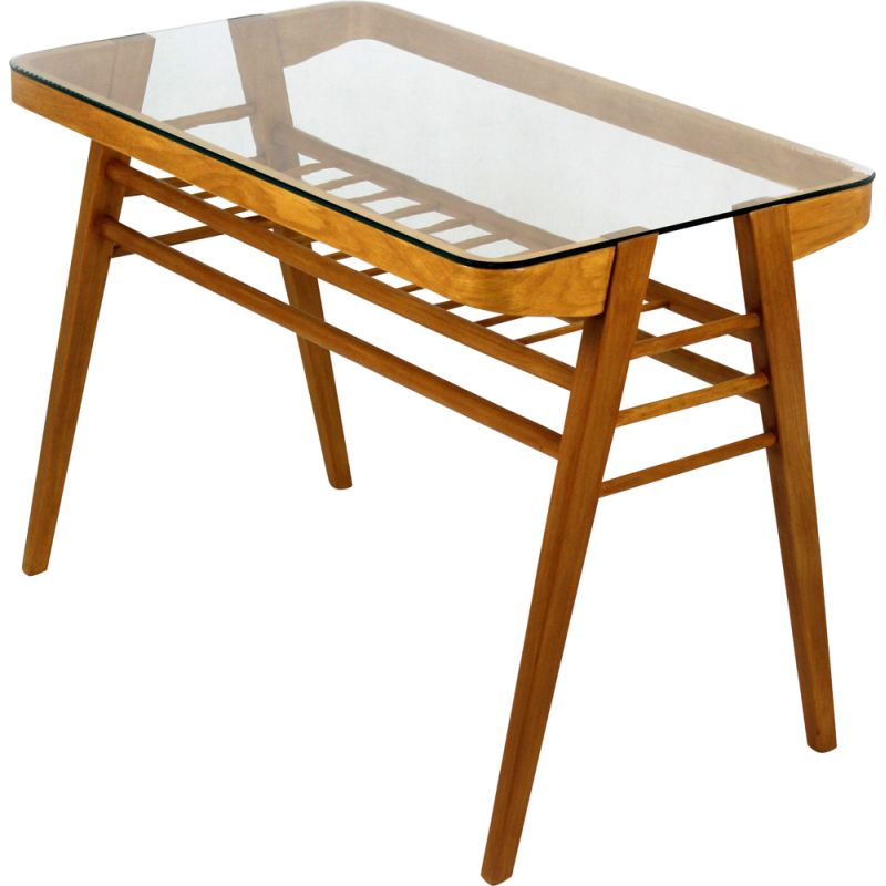 vintage wooden coffee table with glass top by frantisek jirak 1960s