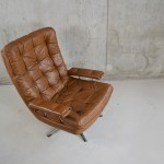 Danish Light Brown Leather Swivel Chair 1970s