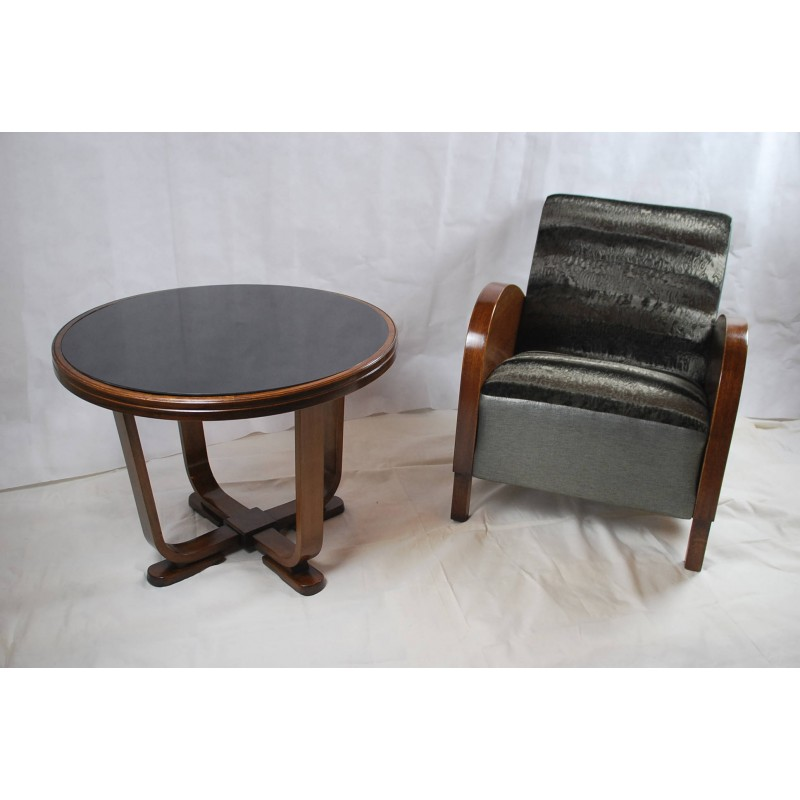 mid century black armchair and its coffee table 1950s