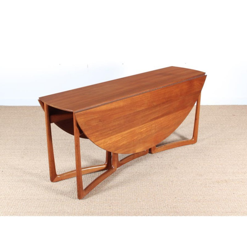 scandinavian dining table with solid teak flap for 6 8 people by peter hvidt and orla molgaard nielsen 1960s