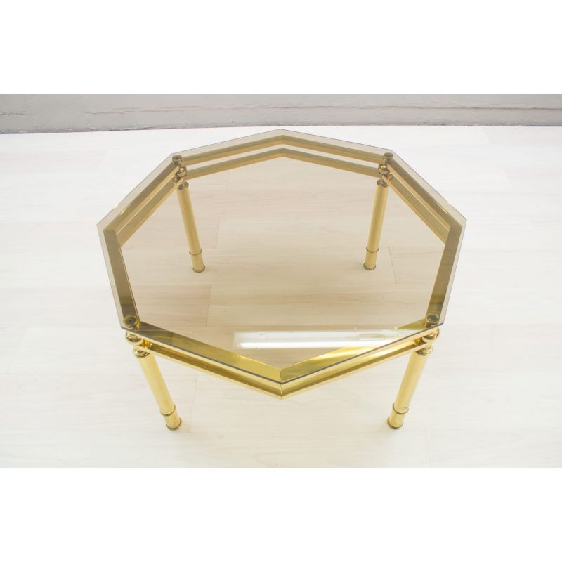 vintage italian octagonal coffee table in brass and smoked glass