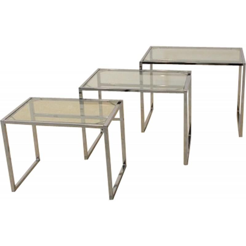Set Of 3 Ikea Swedish Nestling Tables In Chrome And Glass 1960s Design Market