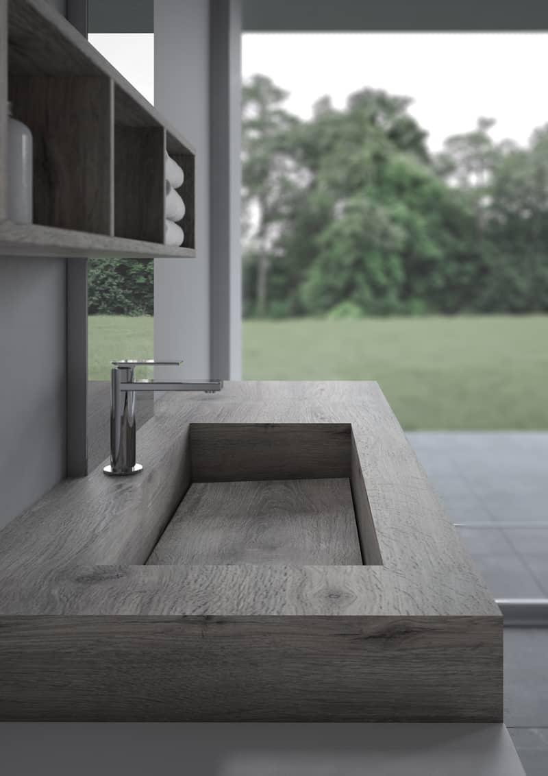 progetto bagno | lavabo integrato nel piano sospeso