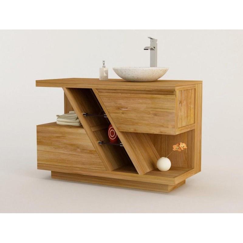 meuble teck salle de bain diagonal a simple vasque a poser kayumanis