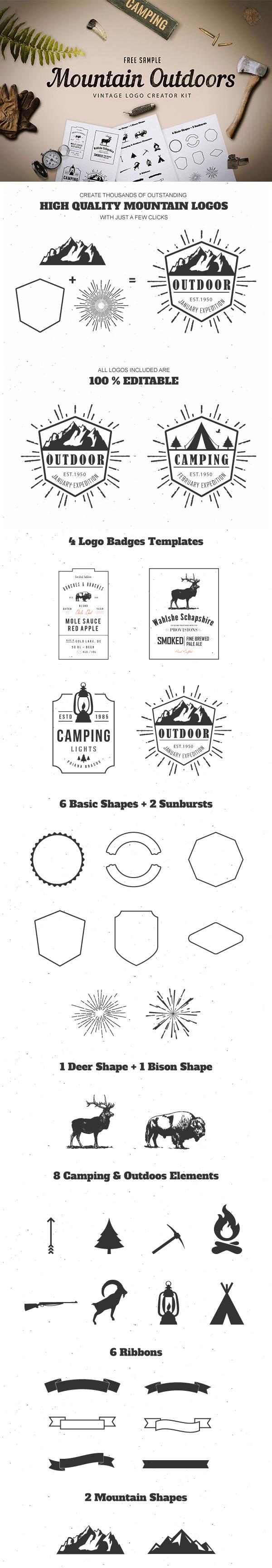 Mountain Outdoor Logo Design Kit for Graphic Design