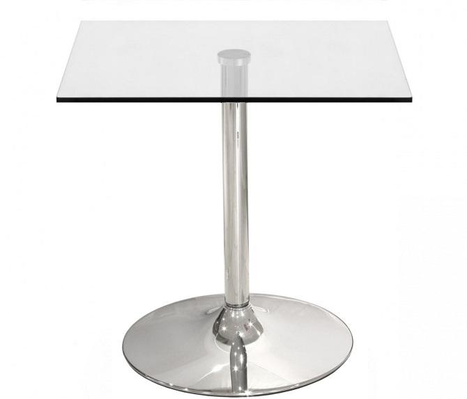table carree pied central chrome plateau en verre transparent 80x80 cm
