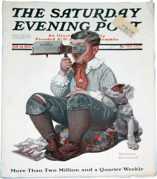 Boy with Stereoscope by Norman Rockwell The Saturday Evening Post January 14, 1922