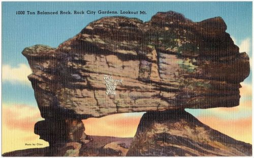 Old Postcard of Balanced Rock at Rock City Gardens