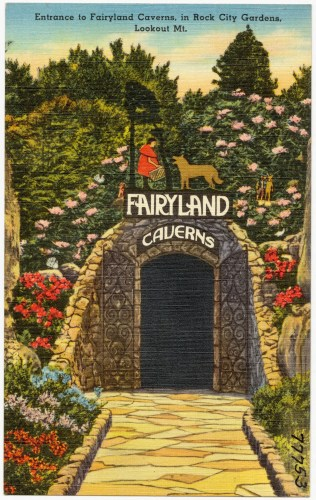 Old Postcard of the Entrance to Fairyland Caverns in Rock City Gardens