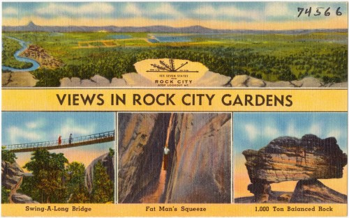 Old Postcard of Views in Rock City Gardens
