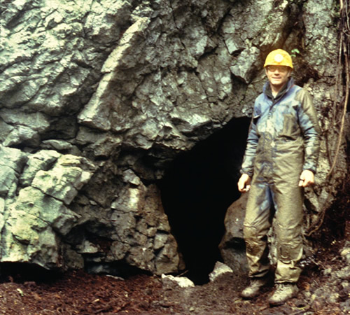 Caver near one of the sinkholes and caves in Tongass National Forest Photo from the Bureau of Land Management