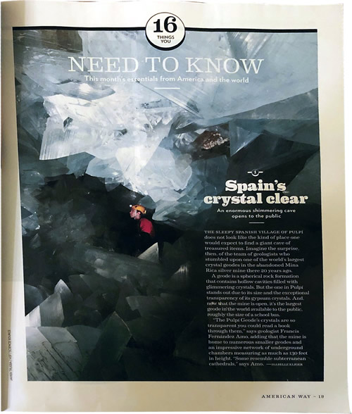 Article about the Pulpí Geode in the American Way Magazine by Isabelle Kliger
