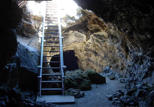 Entrance to Blue Grotto, Lava Beds National Monument, California Photo National Park Service