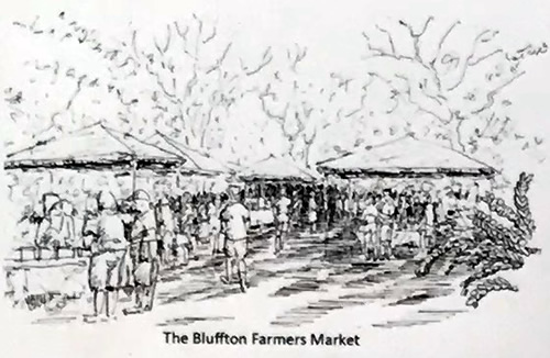 Historic Photo of The Bluffton Farmers Market - Map of Old Town Bluffton - Hilton Head Island - design42