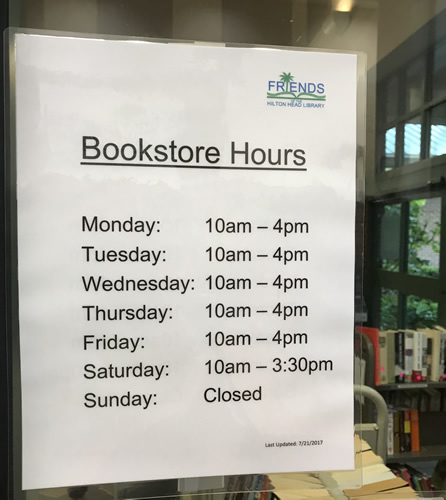 Hilton Head Island Friends' of the Library Book Shop Hours