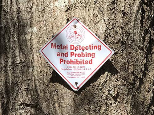 Metal Detecting and Probing Prohibited - Green's Shell Enclosure Heritage Preserve – Hilton Head Island