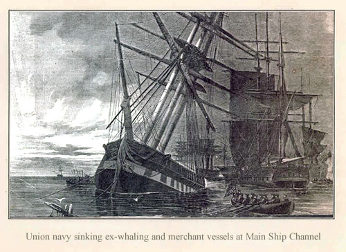Union Navy sinking ex-whaling and merchant vessels at Main Ship Channel - The Stone Fleet and Skull Creek - Hilton Head Island