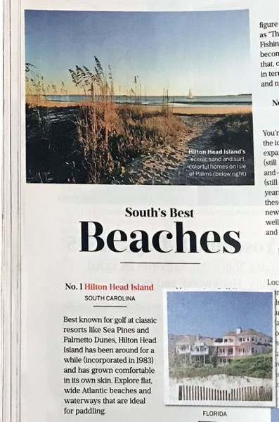 Hilton Head Island, South Carolina, No. 1 of the South's Best Beaches Southern Living April 2019 The South's Best Issue