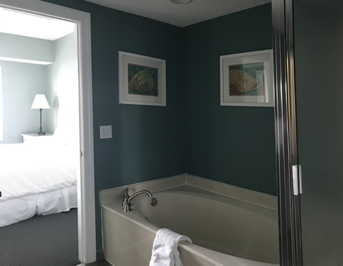 The tub and shower in the guest roomBluewater Resort on Hilton Head Island
