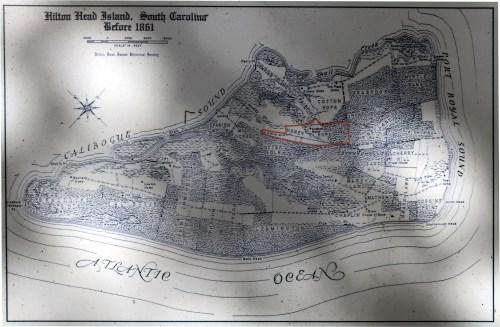 The Honey Horn Plantation on an old map of Hilton Head Island