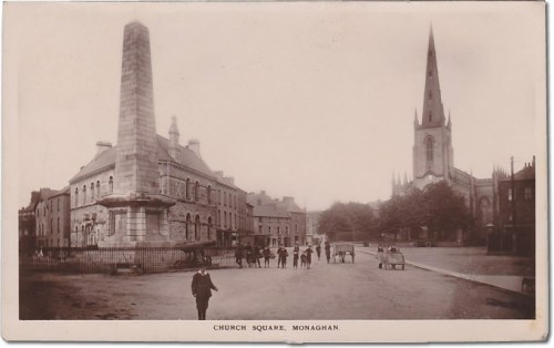 Old Postcard of Church Square, Monaghan, Ireland with the Dawson Obelisk
