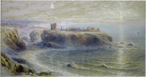 Watercolor of Dunluce Castle by Percival Skelton (1850-1861)