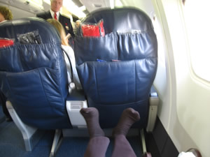 Delta business class to Ireland has plenty of legroom!
