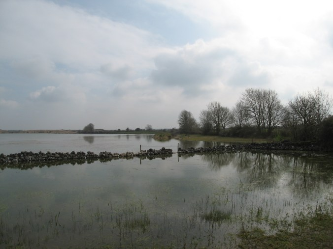 The rock fence passes through the lake. A Ringfort, Cashel is on the rise in the middle.