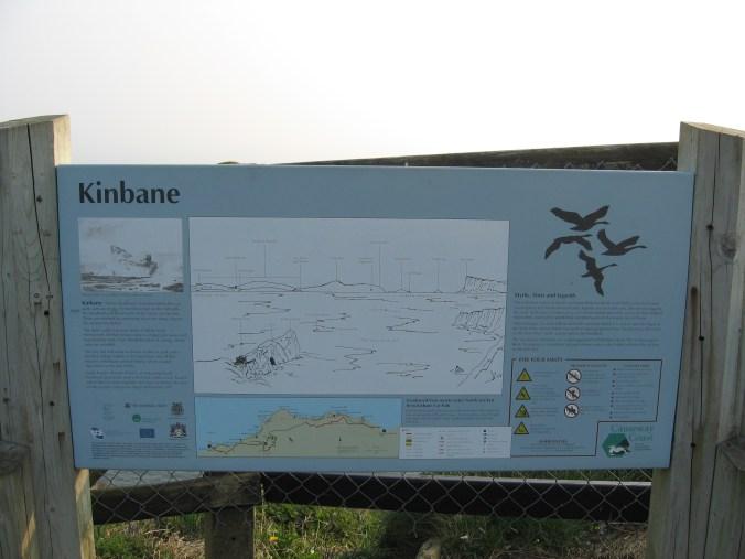 Sign on walk along Kinbane Headland to Kinbane Castle, near Ballycastle in County Antrim, Northern Ireland