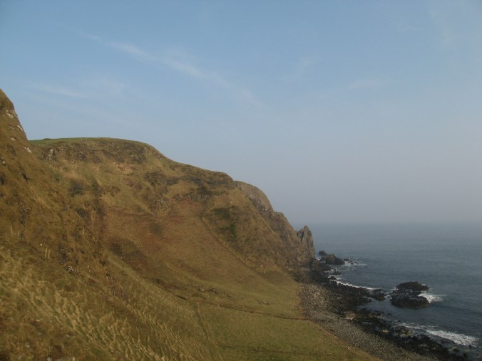 View from cliff path to Kinbane Headland where Kinbane Castle can be seen