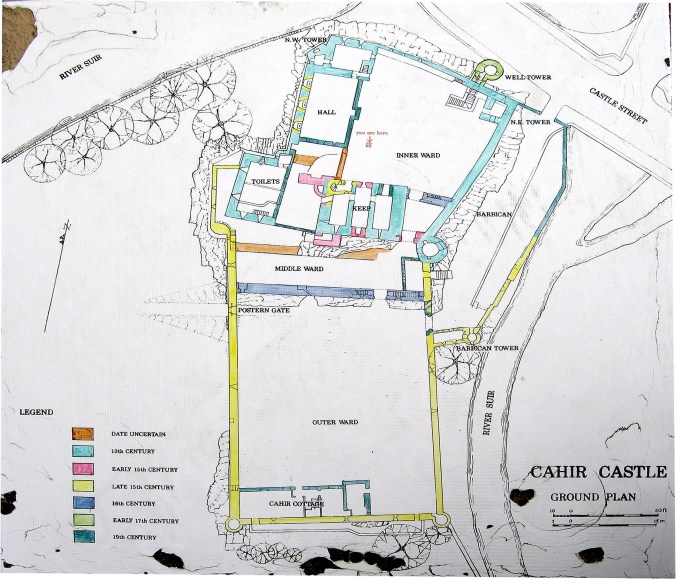 Map of Cahir Castle Cahir Castle was built gradually, over centuries.
