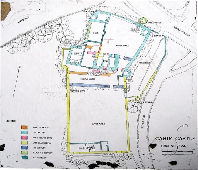 Map of Cahir Castle Cahir Castle was built gradually, over centuries.