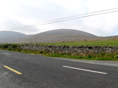 Burren Limestone Mountain on the side of the road between Kinvarra and Ballyvaughan, Ireland