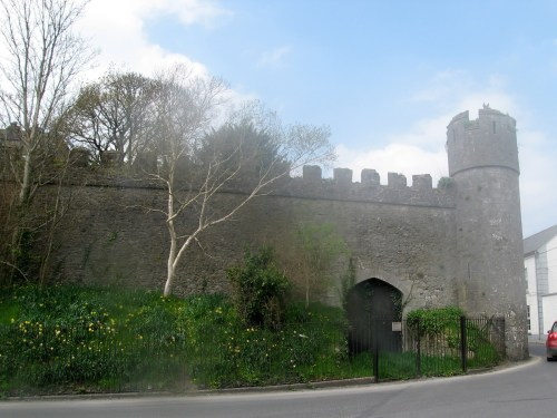 The walls around Birr Castle from William Street in the town of Birr in County Offaly, Ireland