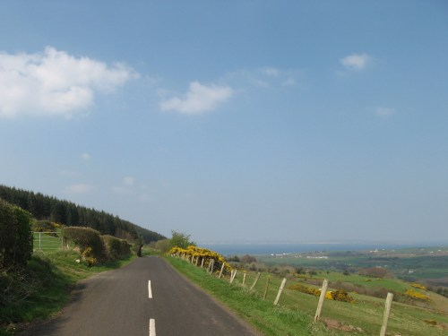 Driving the mountain on the way to Ballycastle, the sea in the background
