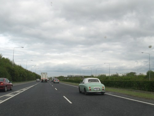 Driving toward Dublin Airport