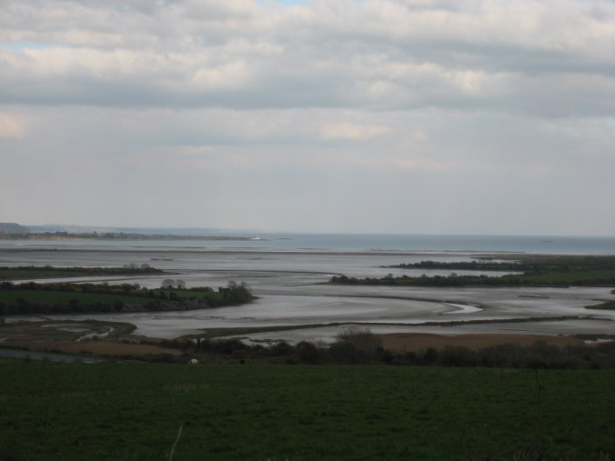 The estuary of the River Brickey, the Cunnigar, Dungarvan Bay, Ballinacourty Point Lighthouse, Ireland